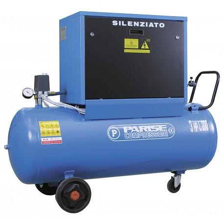Compressore SILENZIATO bicilindrico su serbatoio 200 litri 3 hp 10 bar MOD. SO 43/85-200