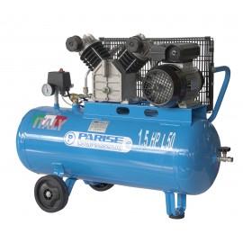 Compressore portatile a cinghia bicilindrico 50 litri 1,5 hp 8 bar MOD. P 50 Cm
