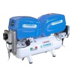 Compressore SILENZIATO Oil-free a secco TANDEM 2+2 hp 8 bar con essiccatore MOD. P 100 OF2P-RET Box